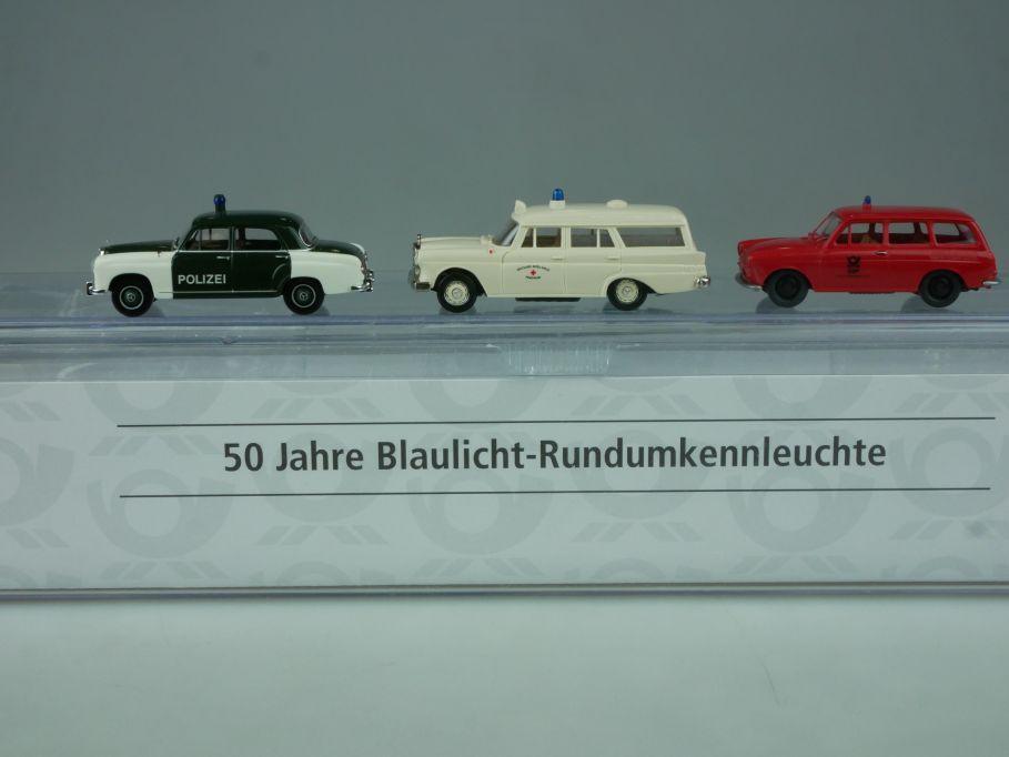Brekina H0 50 Jahre Blaulicht Rundumkennleuchte Mercedes VW 1500 Post Box 113453
