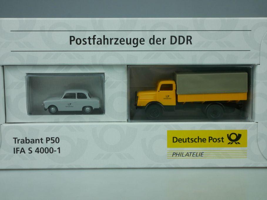 Brekina H0 Postfahrzeuge DDR Trabant P50 IFA S4000-1 Dt. Post 006276 Box 113468