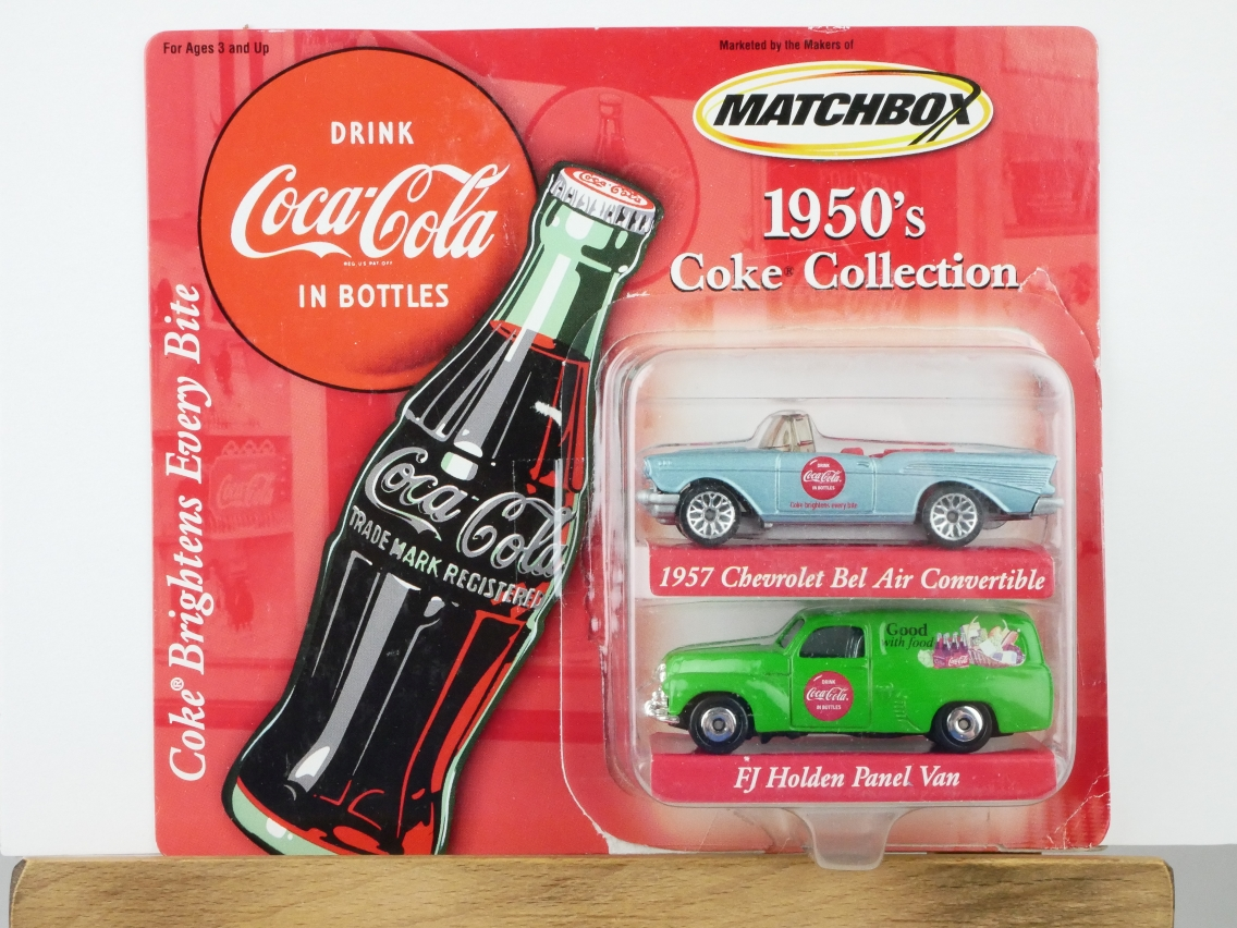 1957 Chevrolet Chevy Bel Air Convertible & FJ Holden Van Coca-Cola - 13496
