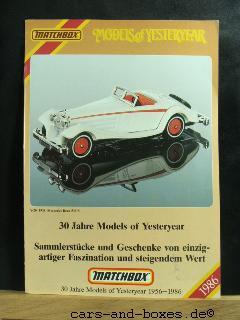 Models of Yesteryear Katalog 1986 (20174)