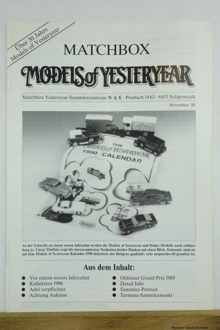 Models of Yesteryear Sammlermagazin 1989 (20494)