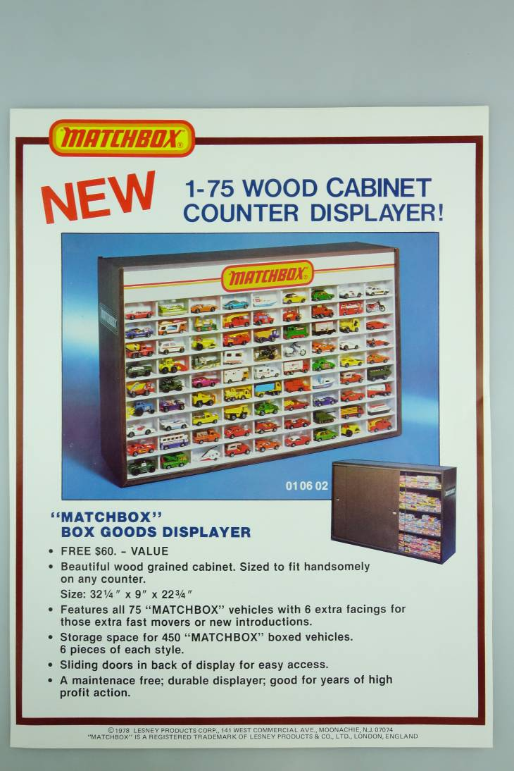 Matchbox Werbung Wood Cabinett Counter Displayer 1978 - 20624