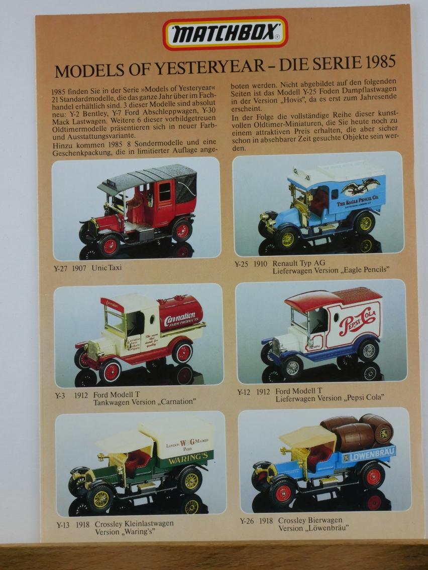 Models of Yesteryear Katalog 1985 (Faltblatt) - (20680)