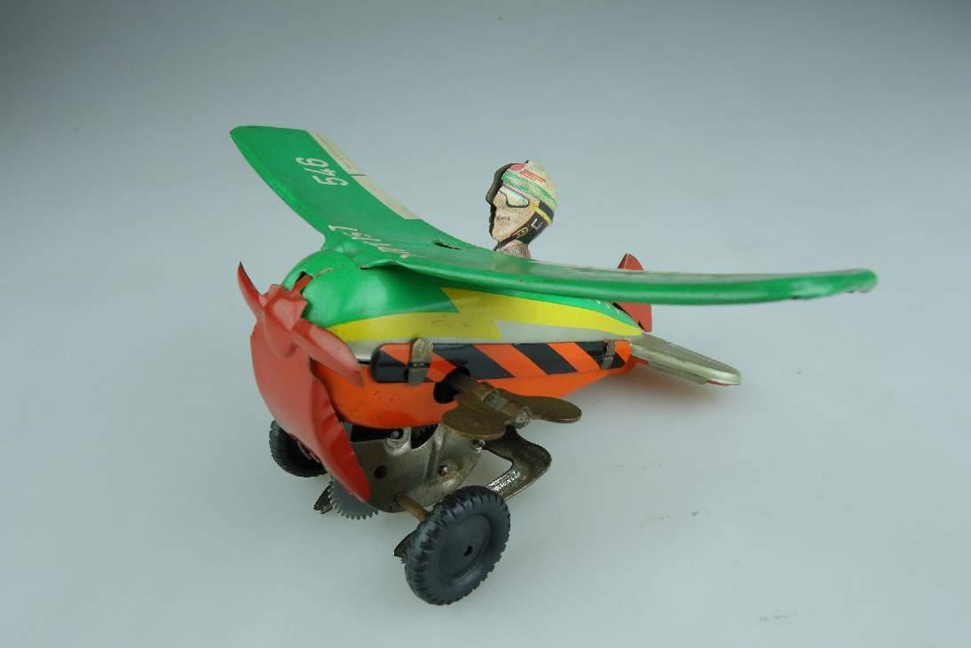 Blech Schopper 546 Überschlag Flugzeug Artist Uhrwerk W. Germany tin toy 104320