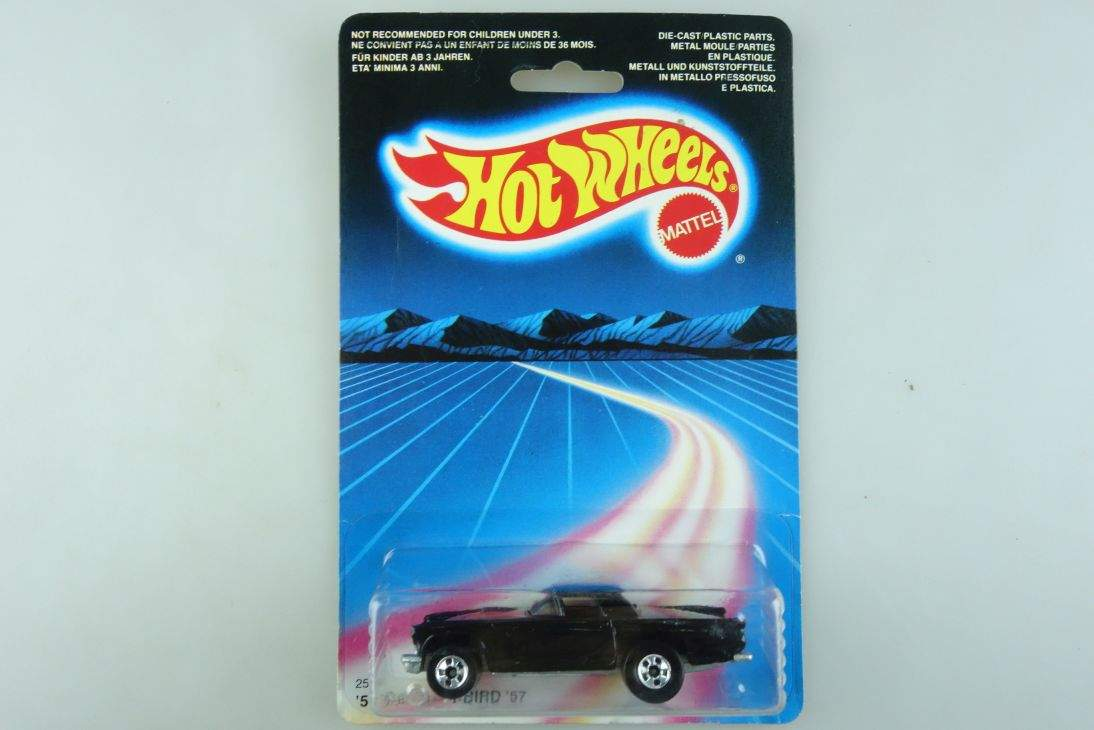 1957 T-Bird Hot Wheels Mattel 2536 Ford Malaysia mint blue card MOC 1:64 104486