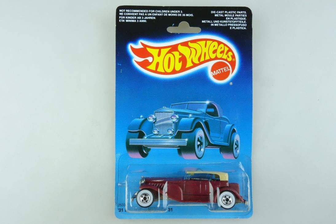 1931 Doozie Hot Wheels Mattel 2533 Duesenberg Malaysia mint blue card MOC 104503