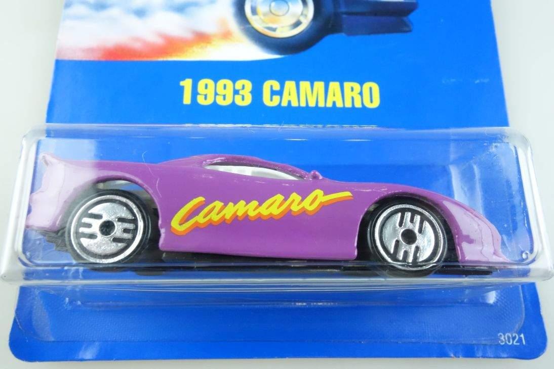 1993 Camaro Hot Wheels Mattel 3021 Chevy Malaysia mint blue card MOC 1:64 104515