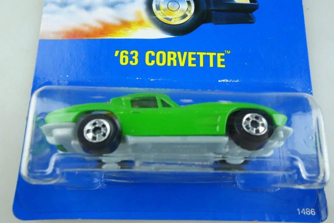 1963 Corvette Hot Wheels Mattel 1486 Malaysia mint blue card MOC 1:64 104588