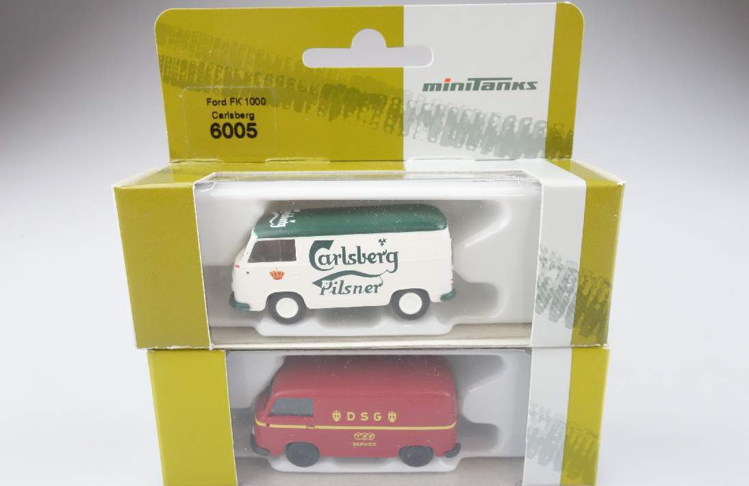2x Roco 1:87 H0 6005 6007 Ford FK 1000 TEE DSG + Carlsberg minitanks Box 104113