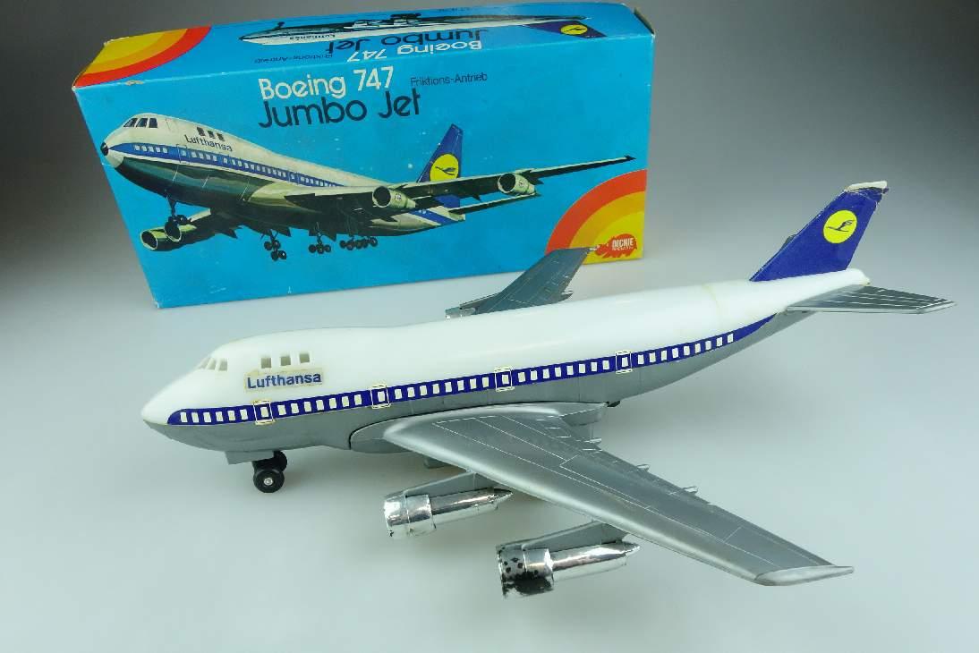 70er Dickie Spielzeug 315 Boeing 747 Jumbo Jet Flugzeug Friktion Box 106537