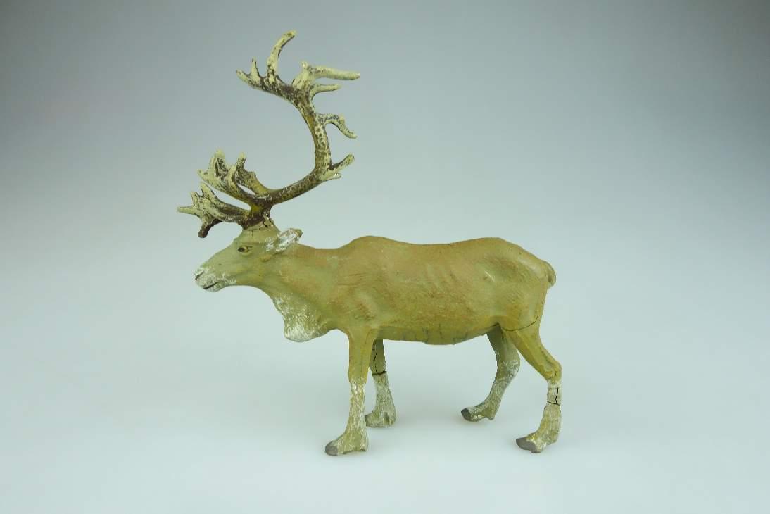 Alte Elastolin Masse Rentier reindeer Tier Figur vintage 106595