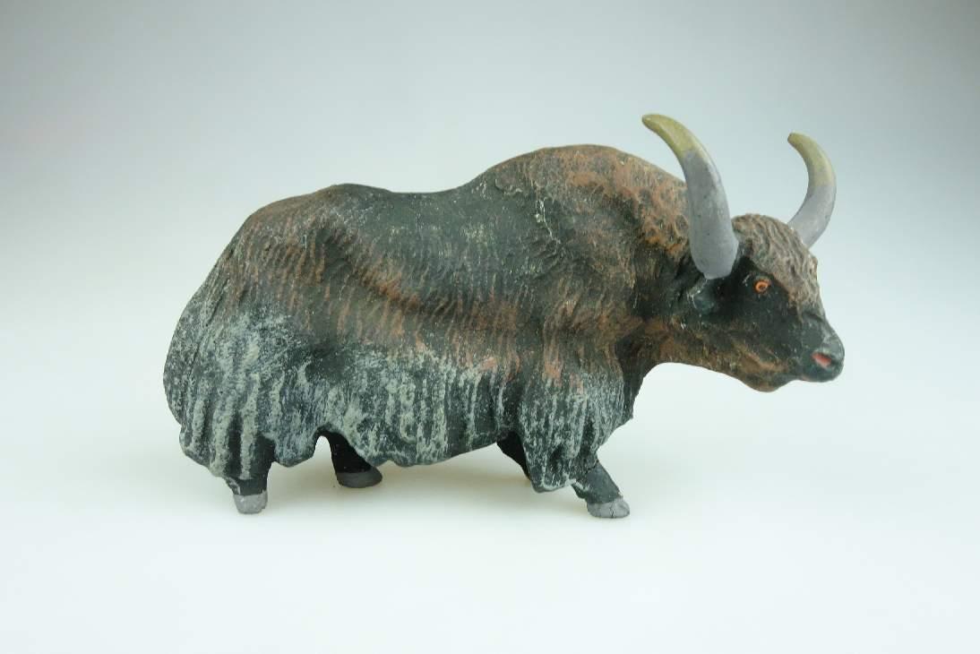 Alte LINEOL Masse Yak Asiatisches Rind Tier Figur vintage animal toy 106598