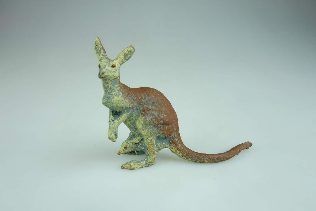 Alte LINEOL Masse Kängeruh kangaroo Tier Figur vintage animal toy 106600