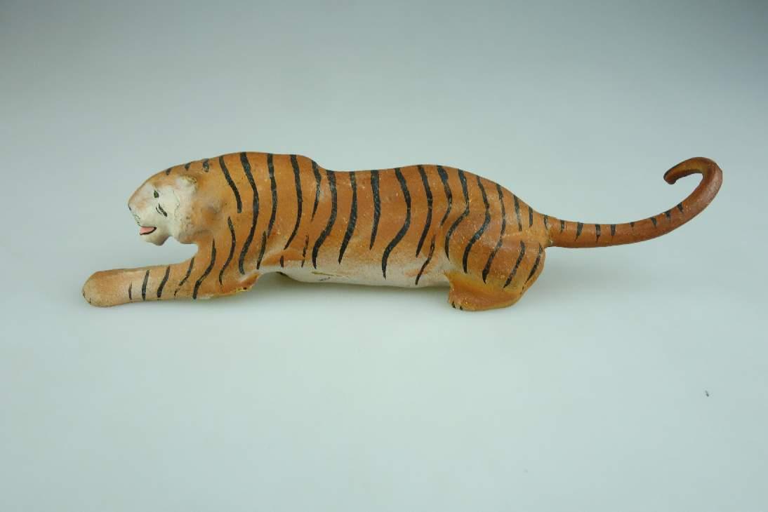 Alte LINEOL Masse Tiger 14 cm lang Figur vintage animal toy 106601