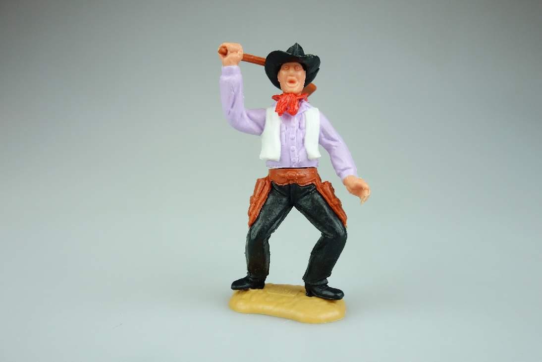 Timpo Cowboy Oberteil lila weiß Gewehr schlagend 2. Serie Variante rare 106740