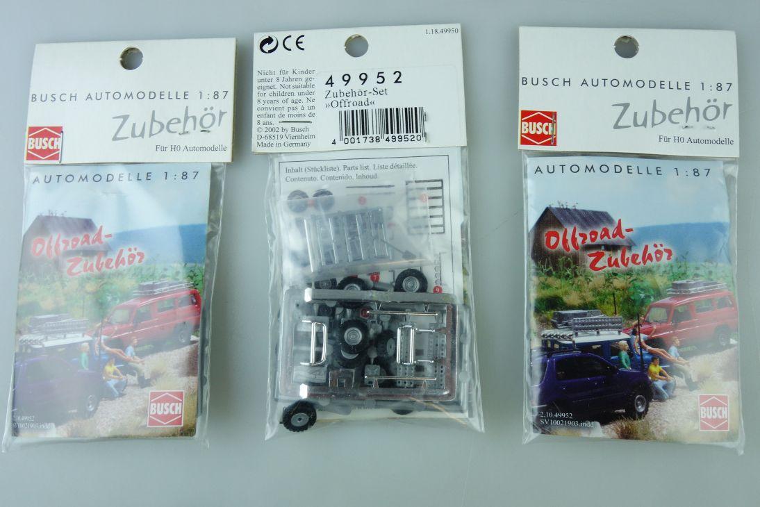 Busch 1:87 49952 3x 4WD Offroad Zubehör Set accessories chrome bars etc 107356