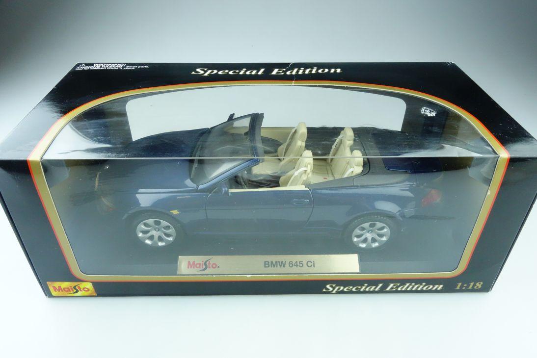Maisto 1/18 BMW 645 Ci Convertible Cabriolet blue met. Special mit Box 510055