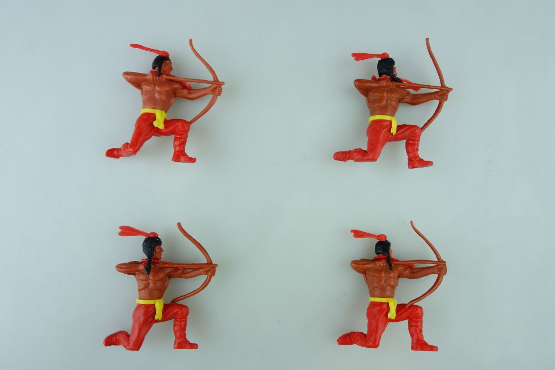 Timpo 4 Indianer knieend Bogenschützen 2. Serie Unterteil rot Indian 107433