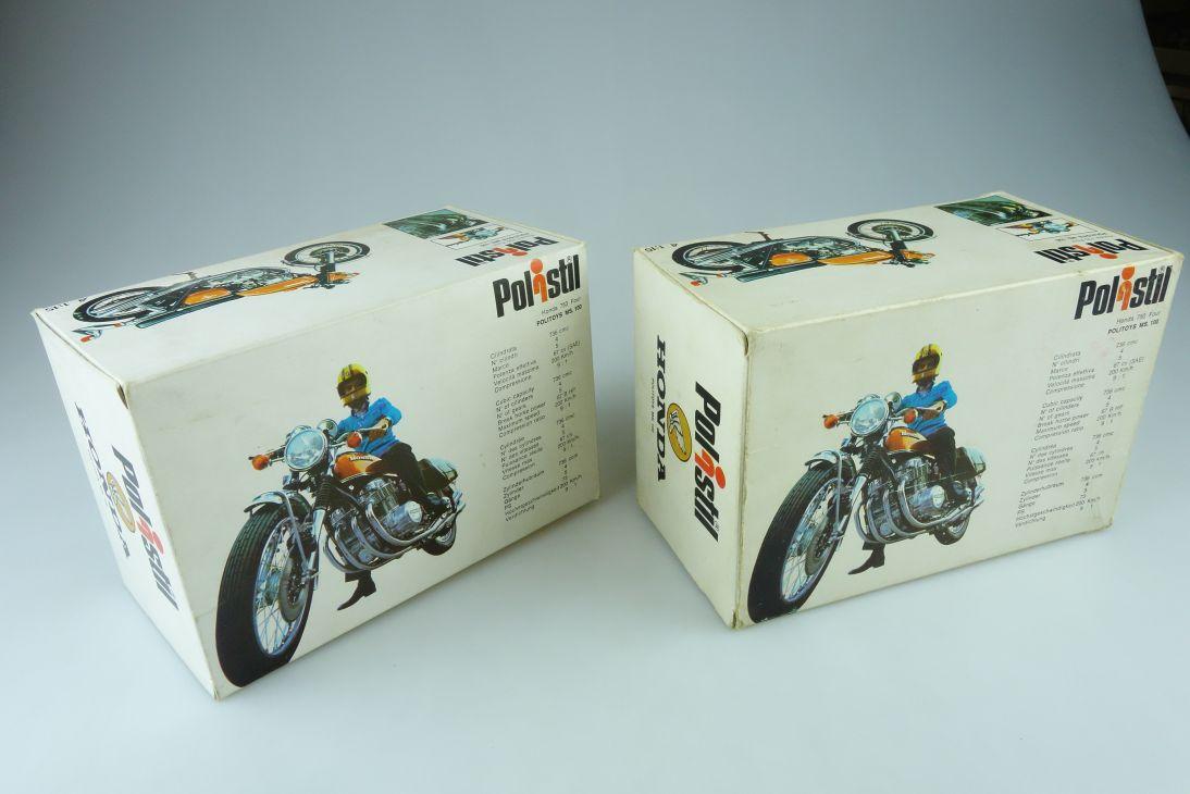 2x Polistil 1:15 Honda 750 four MS 100 LEERER Karton EMPTY Box Motorrad 107381