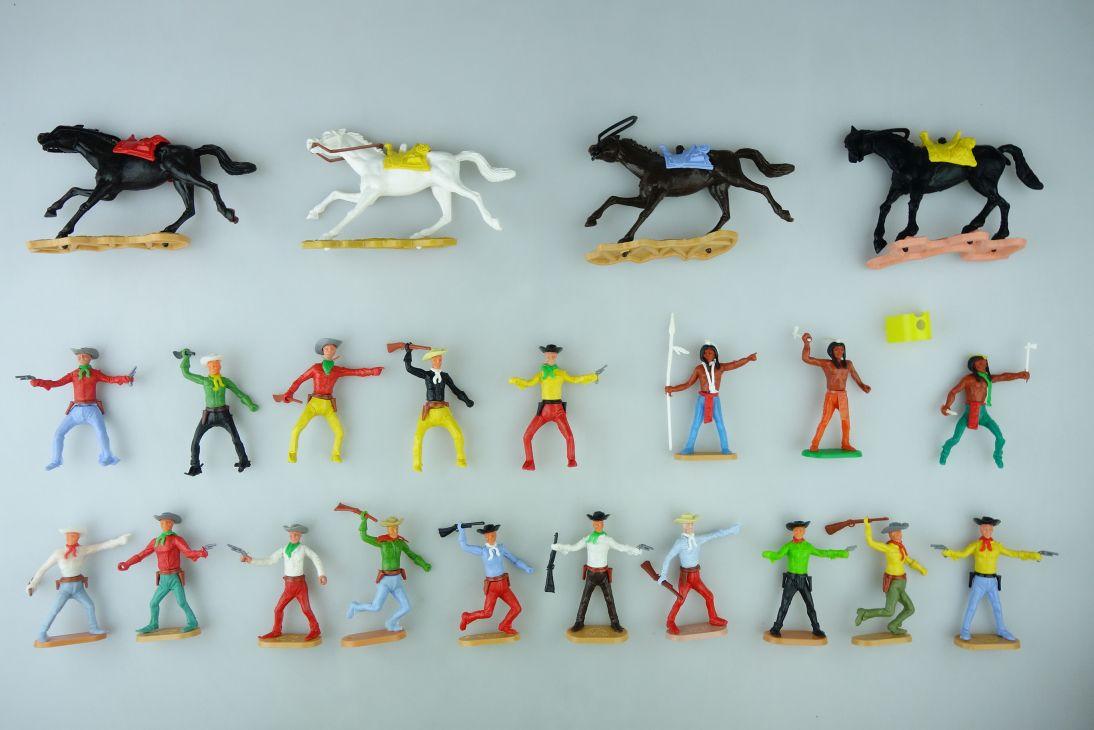 Cherilea England Konvolut Cowboys Indianer 18 Figuren 4 Pferde 107555