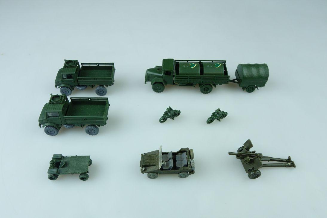9x Bundeswehr RMM Roskopf 1:100 LKW Truck MB military Geschütz + 1 Wiking 107698