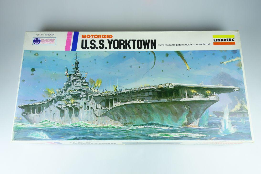 Lindberg 1:525 USS Yorktown motor US Navy aircraft carrier 1977 760M Kit 107857