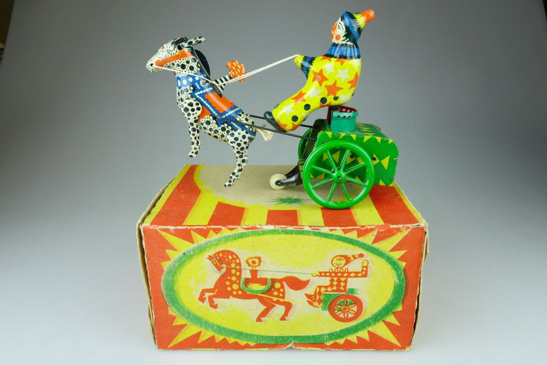 USSR CCCP vintage Tin Toy wind up Clown Horse Harlequin carriage + Box 107819