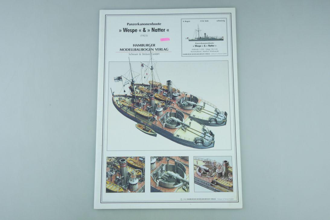 HMV 1:250 Modellbaubogen Panzerkanonenboot WESPE NATTER paper model kit 107932