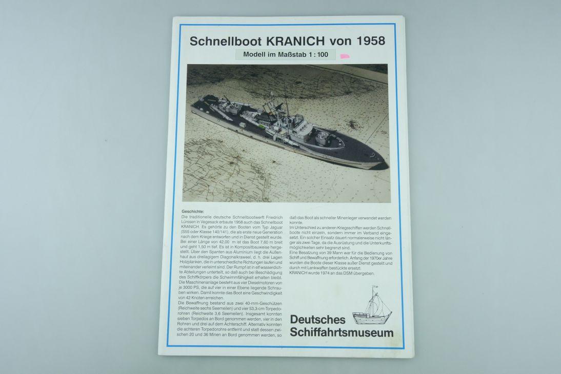 1:100 Modellbaubogen Schnellboot KRANICH 1958 Boot paper kit 107934
