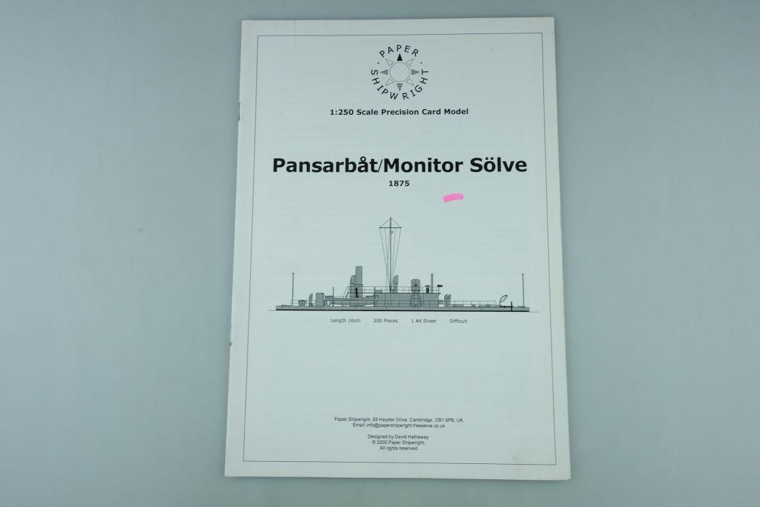 1:250 PAPER SHIPWRIGHT Modellbaubogen 1875 Pansarbat Monitor Sölve kit 107935