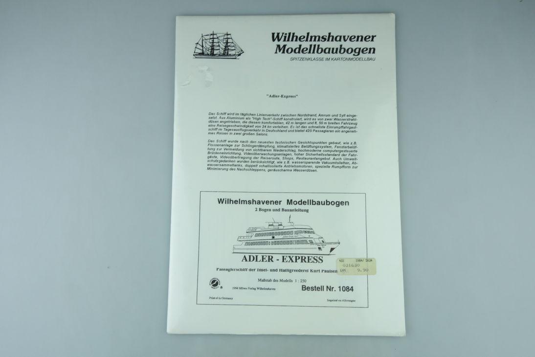 1:250 ADLER EXPRESS Passagierschiff Wilhelmshavener Modellbaubogen kit 107936