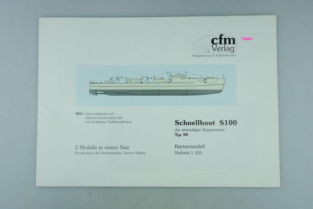 cfm Verlag 1:250 Modellbaubogen Schnellboot S100 eh. Kriegsmarine Typ 38  107937