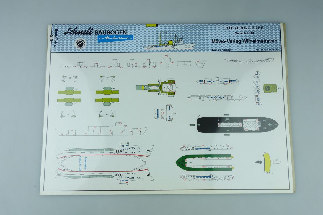 Schnell Baubogen Möwe 1:500 Lotsenschiff ELBE paper kit 510 107940