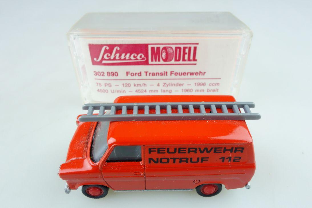 302890 Schuco 1/66 Ford Transit MK II Feuerwehr Gerätewagen mit Box 510588