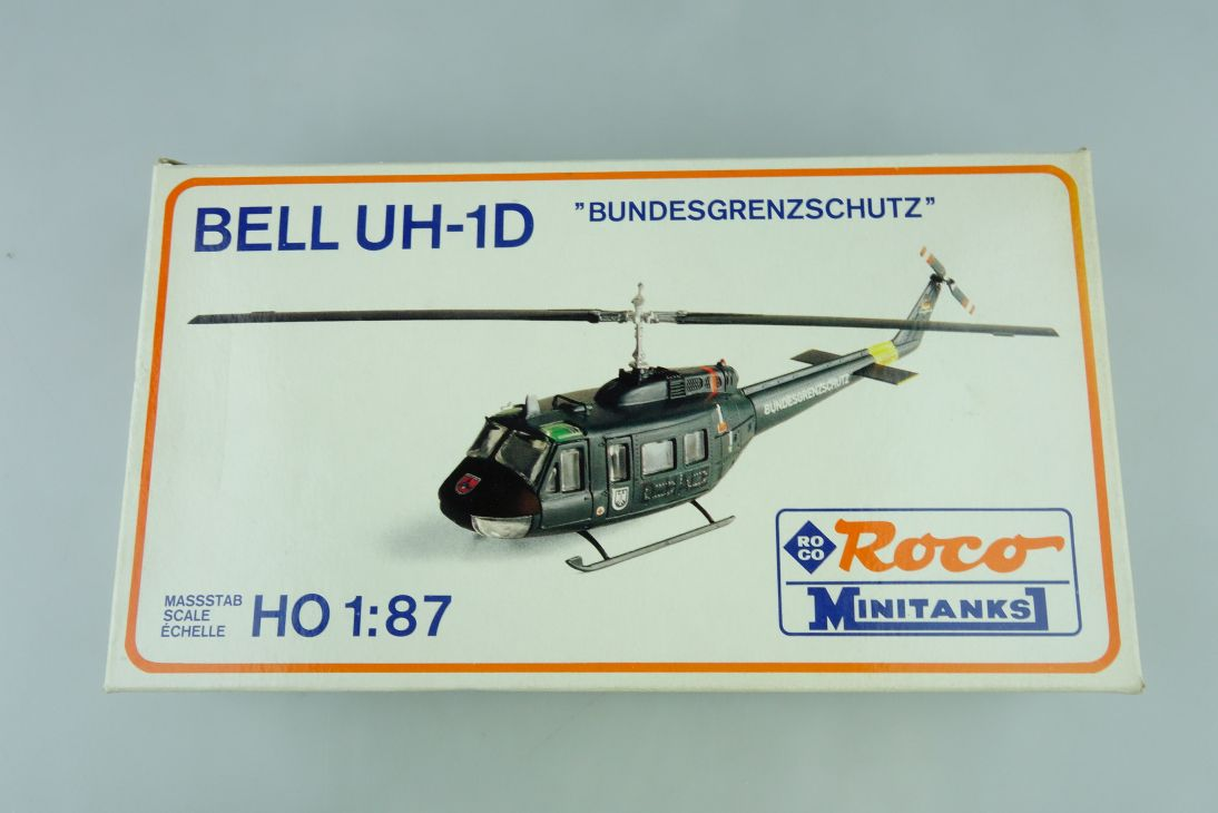 Roco Minitanks 385 1:87 H0 Bell UH-1D Hubschrauber BGS kit + Box 107885