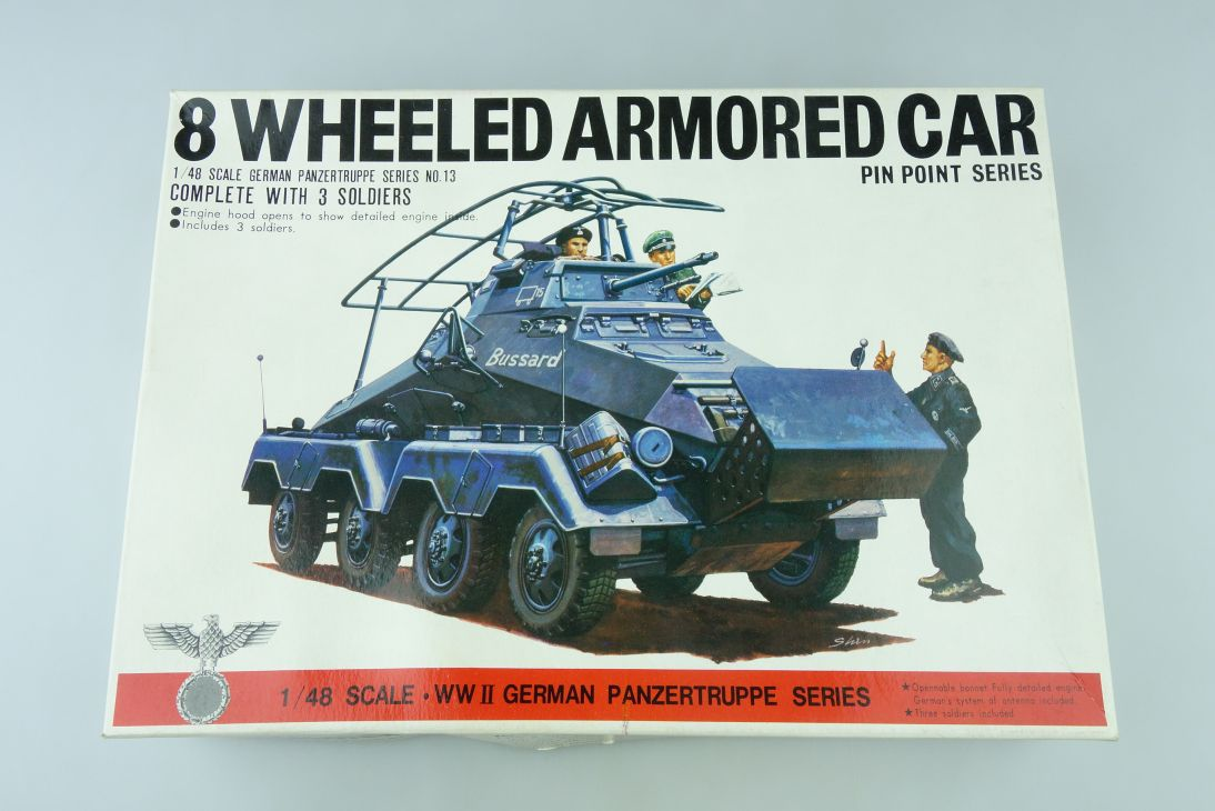 Bandai 1/48 8 Wheeled Armored Car German Panzergruppe 8238 Kit 107980