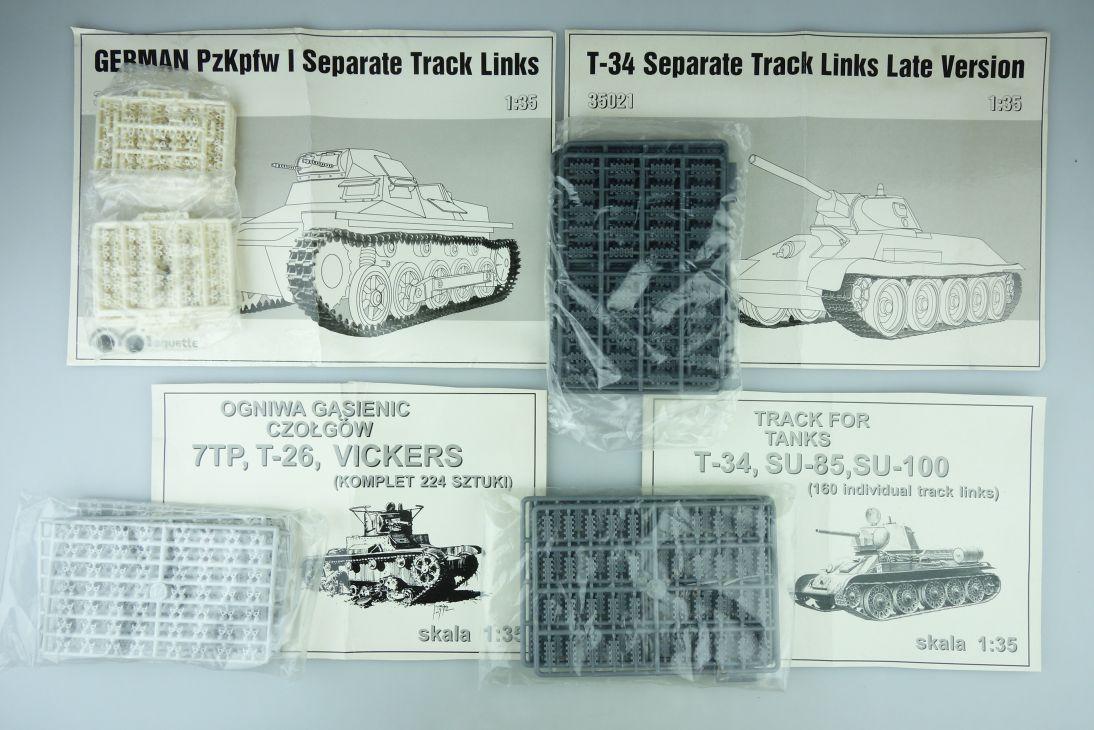4x Maquette 1:35 Pzkpfw I T-34 T-26 SU-85 Kettenglieder tracks tank Kit 108051