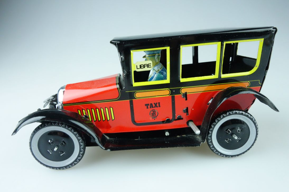 Blech Oldtimer Taxi Libre Aufzug 16,5cm Modell wind up tin toy MS 805 107896