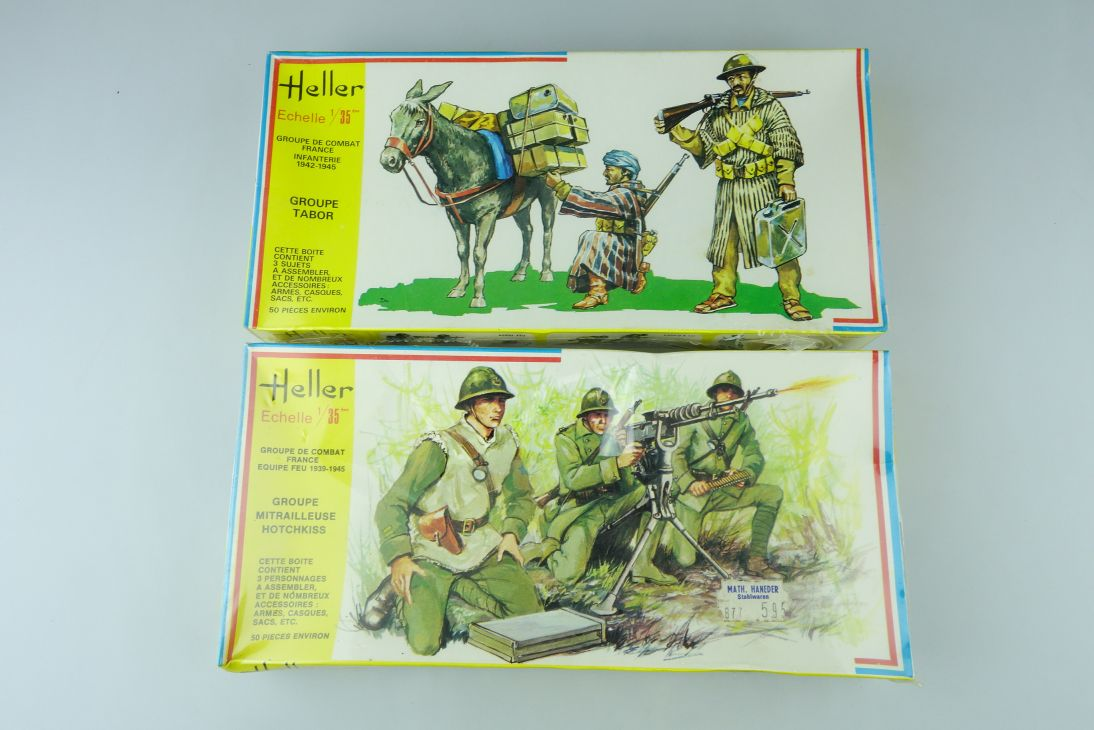 2x Heller 1/35 GROUPE TABOR infantry Mitrailleuse Hotchkiss Kit 116 142 108207