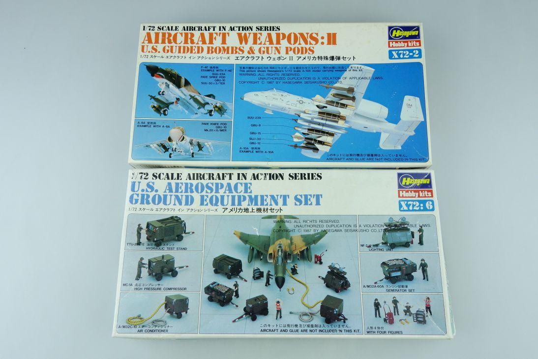 2 Hasegawa 1/72 US Aerospace Ground Equipment Set Aircraft Weapons II Kit 108209