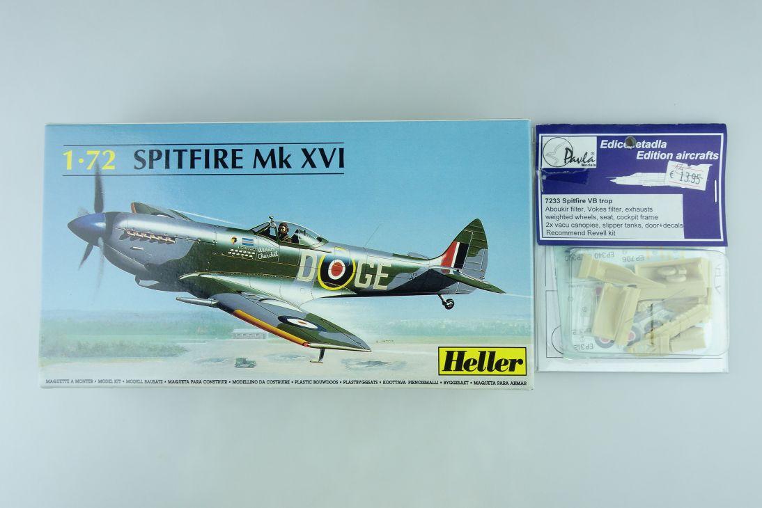 Heller 1/72 Spitfire Mk XVI prop plane + Resin Paula Models Kit 80282 Box 108210