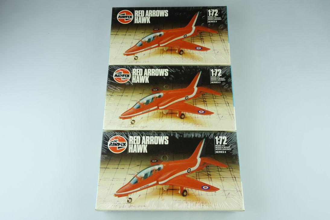 3x Airfix 1:72 Red Arrows Hawk Royal Air Force Jet Kit 03026 Box 108211