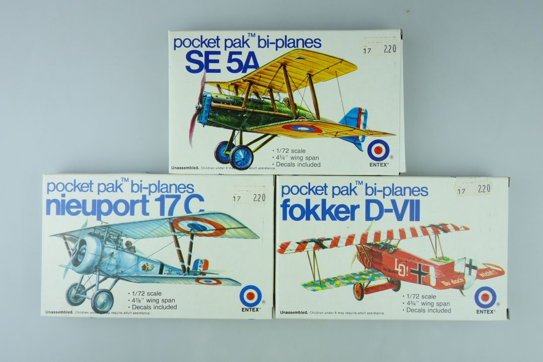 3x Entex 1/72 SE 5A Fokker D-VII Nieuport 17C prop Kit vintage selten Box 108400