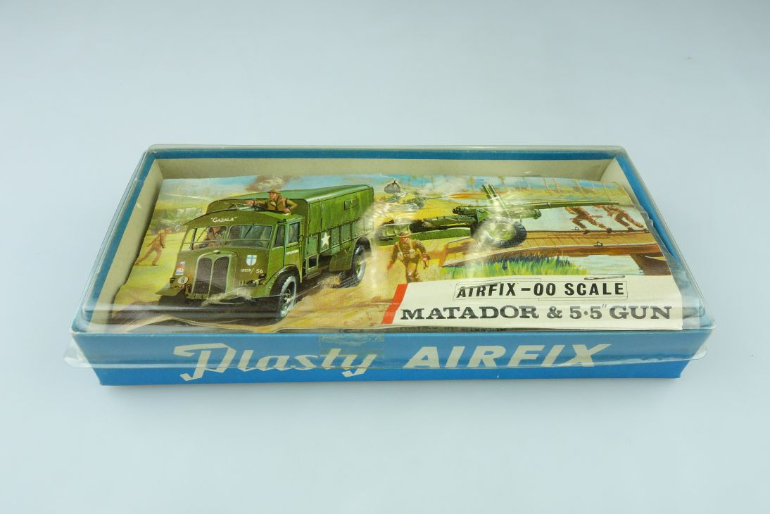 Airfix 00 Matador & 5.5´ Gun vintage Tüten Bausatz bag kit 1/76 blue box 108405