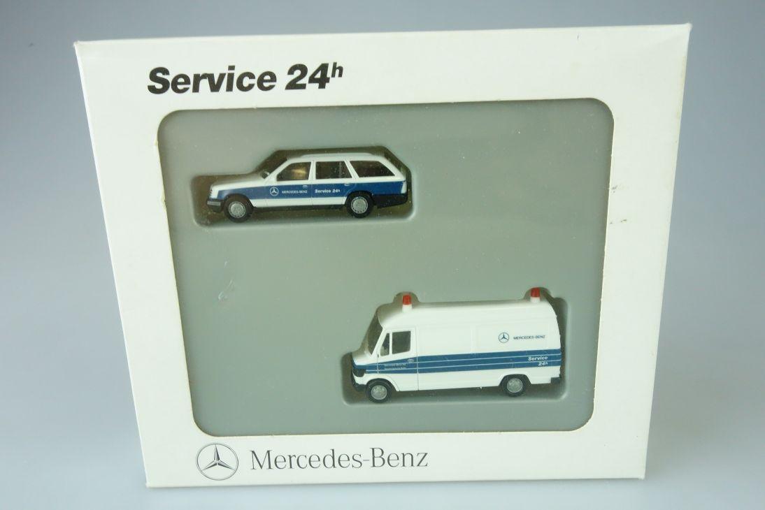 Herpa H0 Service 24h Mercedes Benz 207 D 300 TE + Box 107660