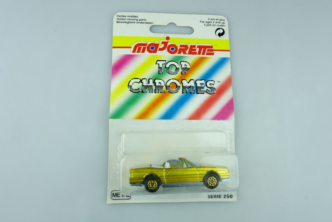 253 Majorette 1/59 Cadillac Allante Convertible Top Chromes goldgelb Box 510980