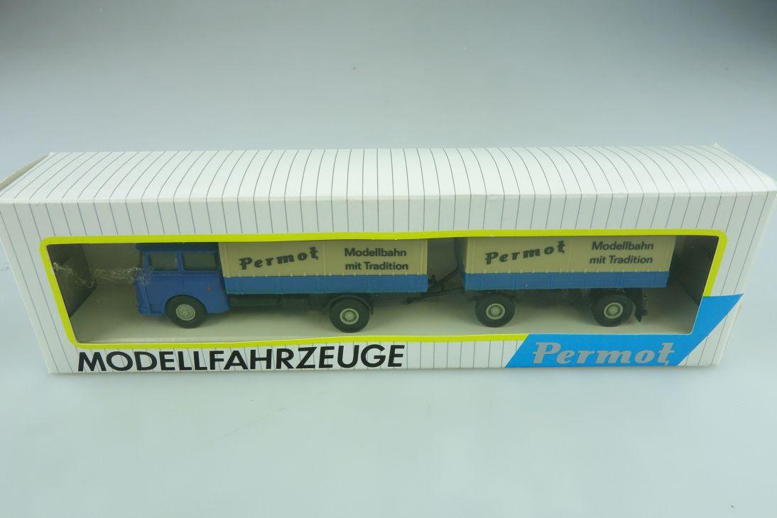 97 Permot 1/87 Skoda Truck LKW Lastzug Plane Modellbahn DDR mit Box 511405