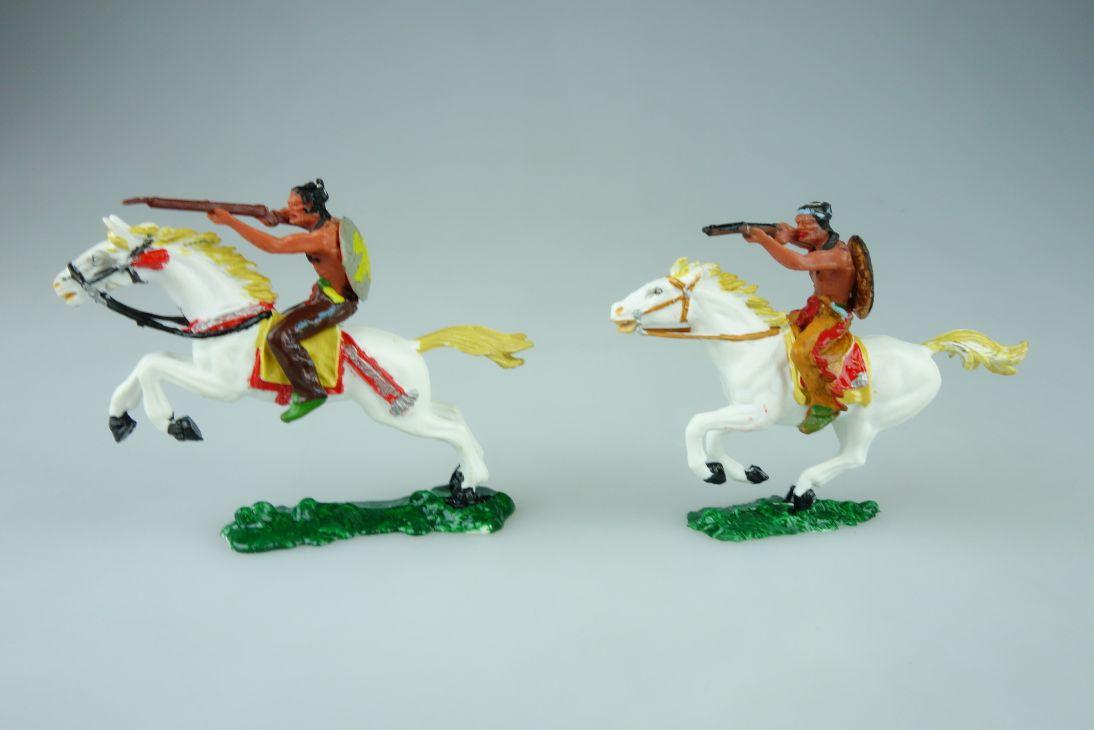 Elastolin 4cm 2 Indianer Reiter Apachen Umbau Wildwest 108561