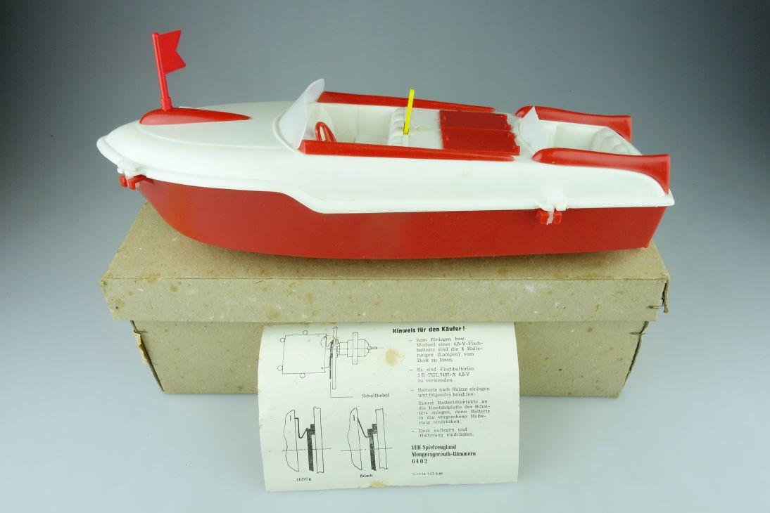 Spielzeugland DDR VEB Adria Sportboot mit Motor 30,5cm Boot Spielzeug Box 108592
