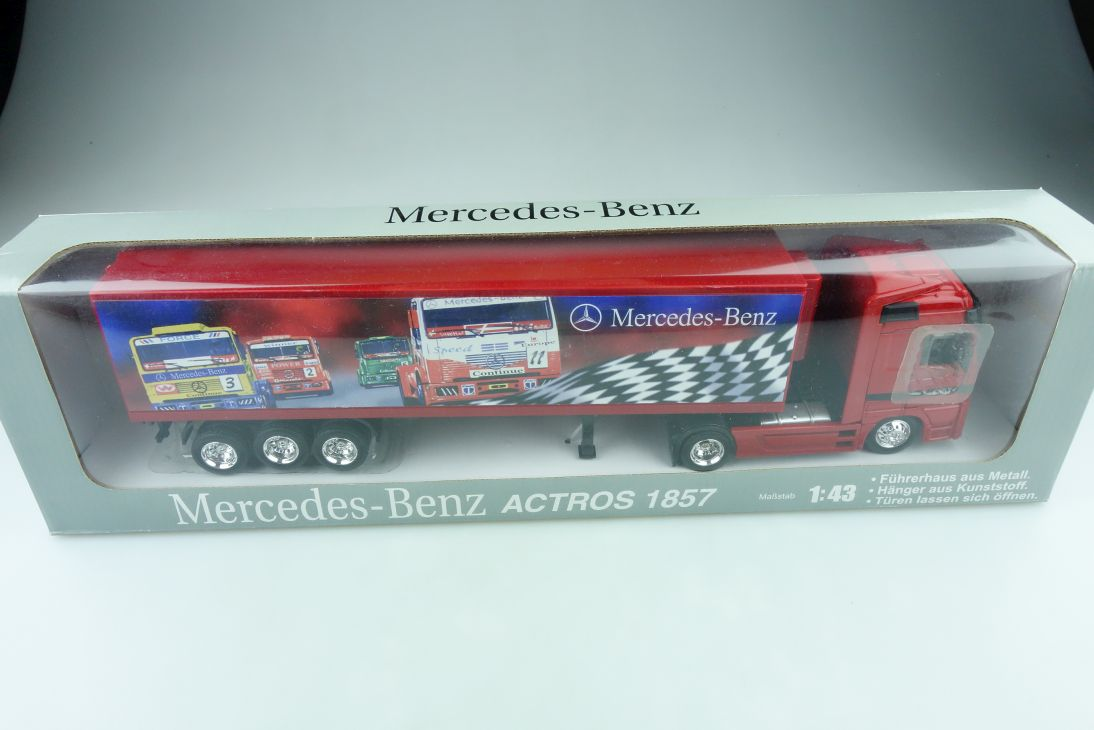 JMV 1/43 Mercedes Benz Actros 1857 Race Truck Longhauler Koffersattel Box 511579